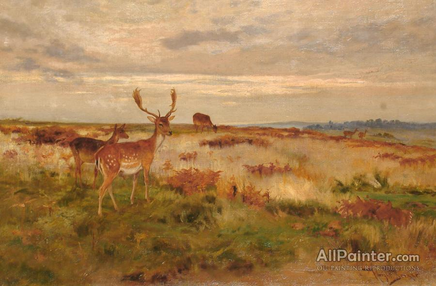 Wright Barker paintings for sale:Deer In A Landscape