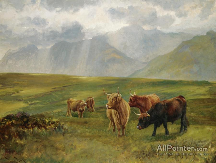Wright Barker paintings for sale:Highland Cattle