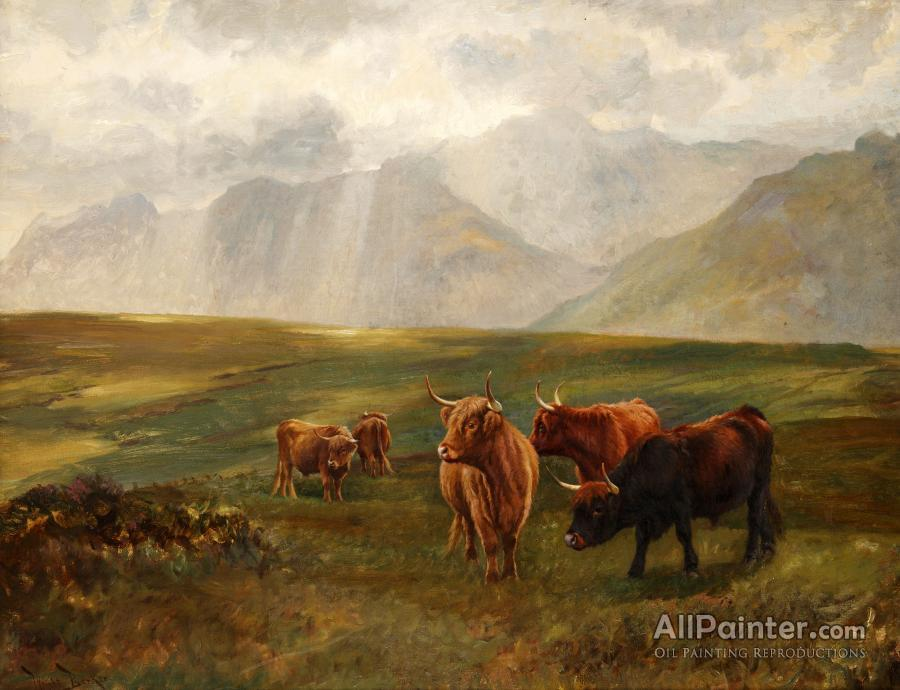 Wright Barker paintings for sale:Highland Cattle In A Landscape