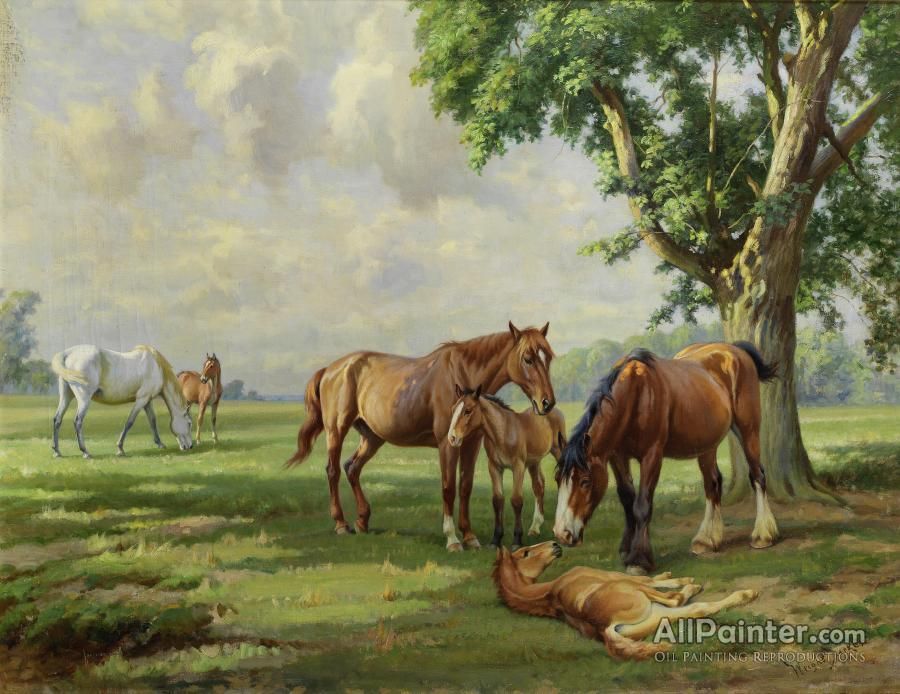 Wright Barker paintings for sale:Horses At Huthwaite