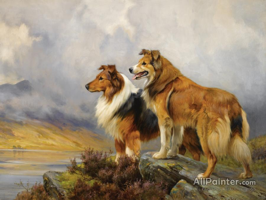 Wright Barker paintings for sale:Two Collies Above A Lake