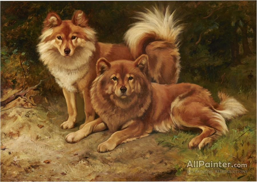 Wright Barker paintings for sale:Two Finnish Spitz